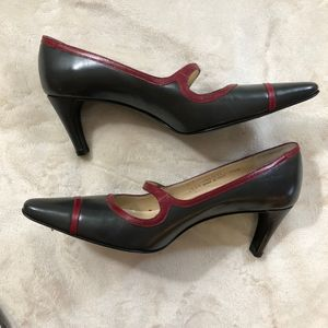 Vintage Coach Leather Heels Black Mary Janes